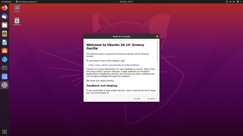 Actualizar Ubuntu 20.04 LTS a Ubuntu 20.10