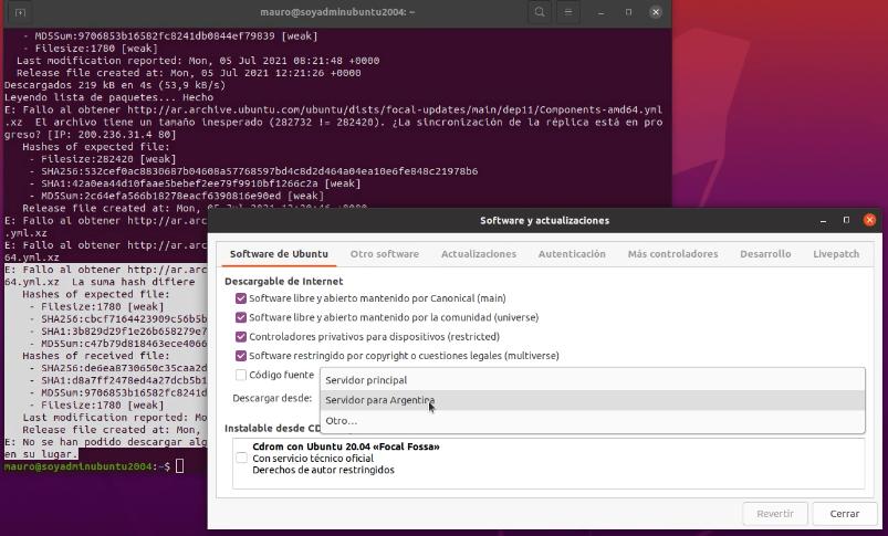 """Solución a: """"El archivo tiene un tamaño inesperado"""" al actualizar Ubuntu, Linux Mint y derivados"""
